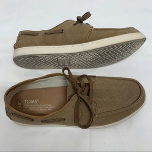 TOMS TOFFEE WASHED CANVAS CULVER BOAT SHOE
